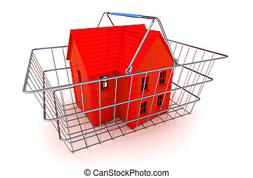 Buying a House Concept - A Colourful 3d Rendered Buying a...