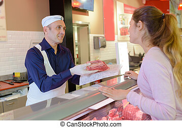 buying a piece of meat