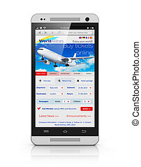 Buying air tickets via smartphone - Creative abstract...