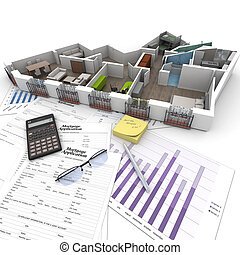 Buying apartment - Cross section of an apartment on top of a...