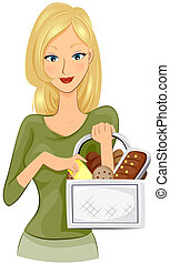 Buying Bread - Girl buying Bread with Clipping Path