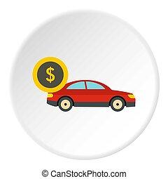 Buying car icon, flat style