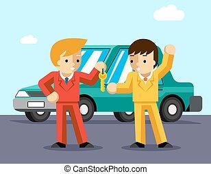 Buying car. Man gets keys to the car