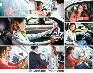 Buying car - Collage of pretty woman sitting in car and...