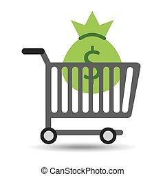 buying cart bag money dollar design