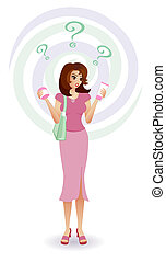 A confused shopper trying to find the right skincare and beauty products. Illustrated in feminine colours. See my portfolio for supermarket & eco-friendly shopping versions too.