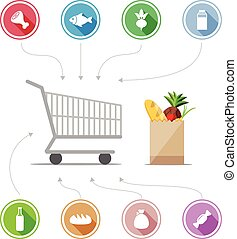Buying food icons. Set of round badges. Cart with purchases and bag of groceries. Vector illustration