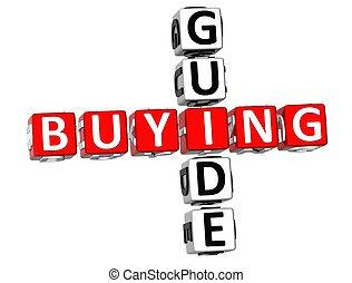 Buying Guide Crossword - 3D Buying Guide Crossword on white...