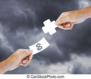 Buying health, insurance concept