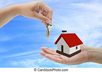 buying house - concept of buying house property with blue...