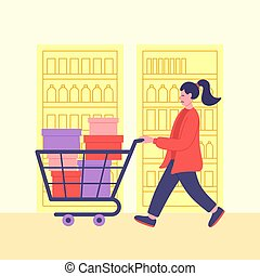buying., illustration., shopping., tout, could, elle, ...