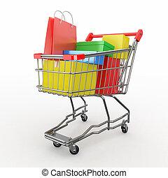 buying., lleno, compras, regalo, carrito, cajas