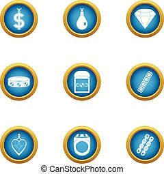 Buying love icons set, flat style - Buying love icons set....
