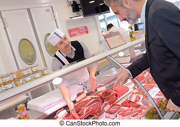 buying meat from butcher