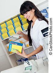 Buying medicine at pharmacy
