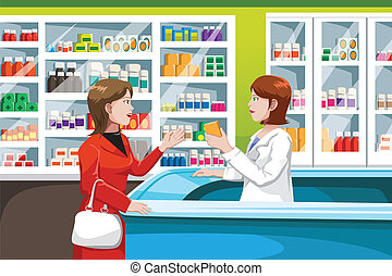 Buying medicine in pharmacy - A vector illustration of woman...