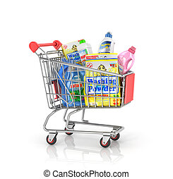Buying of household goods. Shopping trolley full of bottles ...