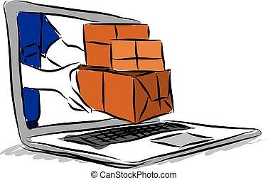buying on-line illustration