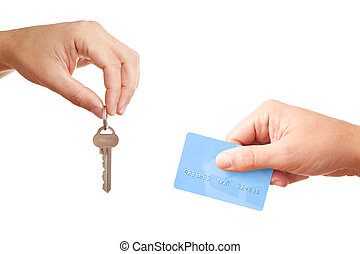 Buying or renting real estate - hands isolated on white