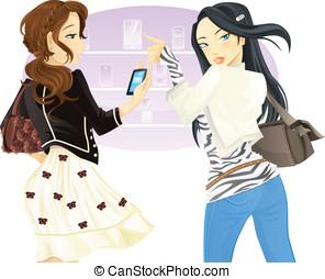 Buying phone - Two girl friends doing shopping