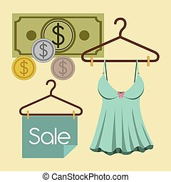 Buying products, vector illustration