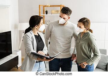 Buying Real Estate House Wearing Mask