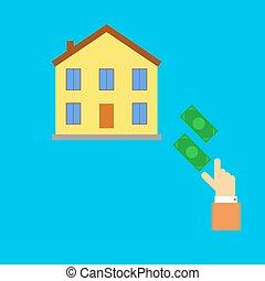 Buying real estate. Vector illustra