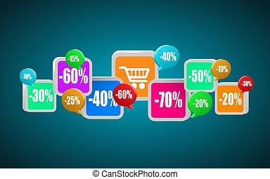 buying., shopping, comércio, móvel, app, ícones, ou, internet, concept.