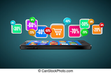 buying., shopping, comércio, móvel, app, icons., ou, telefone, internet, concept.