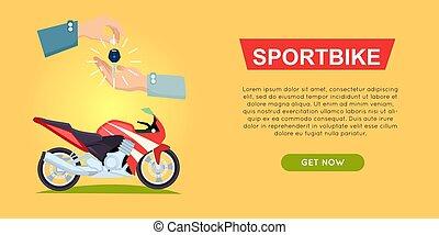 Buying Sportbike Online. Bike Sale. Web Banner. - Buying...