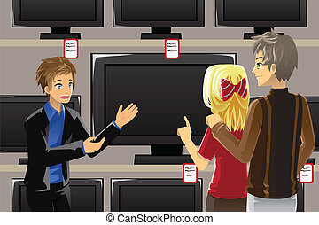 A vector illustration of a salesman selling television to customers