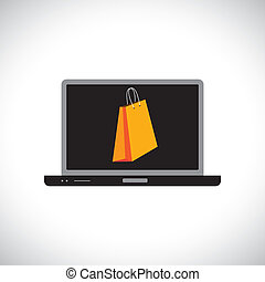 Buying/shopping online using a computer(laptop). The graphic...