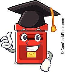 buzón, pared, lindo, clings, sombrero, graduación, ...