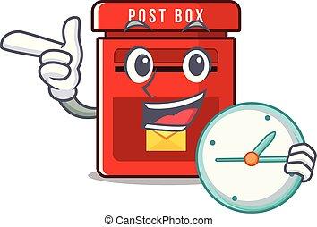 buzón, reloj, traer, lindo, clings, pared, caricatura