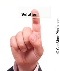 Buzinessman finger on button SOLUTION, isolated on white