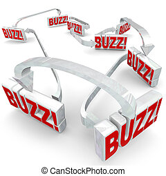 Buzz Connected 3d Words Arrows Gossip Sharing Spreading Hot News