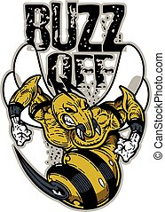 buzz off team design with mean wasp or bee mascot for...