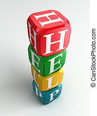 buzzword, ajuda, coloridos, 3d