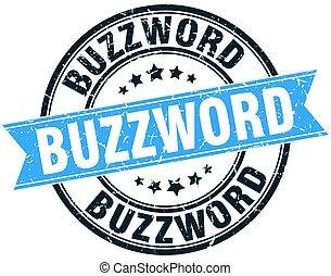 buzzword round grunge ribbon stamp