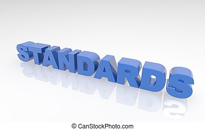 Buzzword standards 3d Text on a white background with reflection