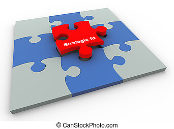 Buzzword strategic fit - 3d completed puzzle with final...