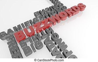 Buzzwords 3D text -