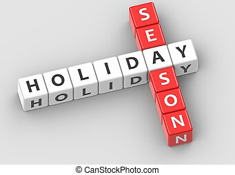 Buzzwords: holiday season - Rendered artwork with white...