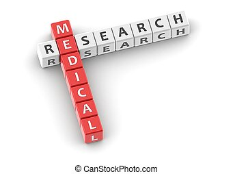 Buzzwords: medical research - Rendered artwork with white...