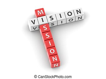 Buzzwords: Mission vision - Red rendered artwork with white...