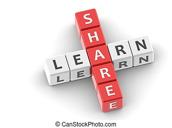 Buzzwords: share learn - Rendered artwork with white...