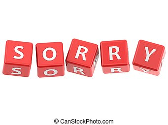 Buzzwords: sorry - Red rendered artwork with white ...