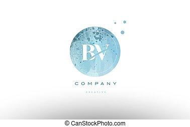 bv b v watercolor grunge vintage alphabet letter logo