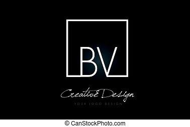 BV Square Frame Letter Logo Design with Black and White Colors.