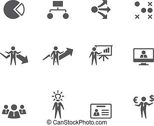 bw, ícones, -, negócio